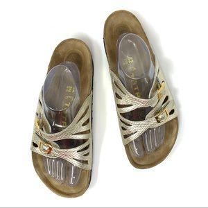 Tatami Birkenstock Snake Leather Slide Sandals
